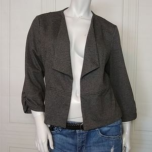 Maurices 3/4 Sleeve Taupe Mini Hounds tooth Blazer
